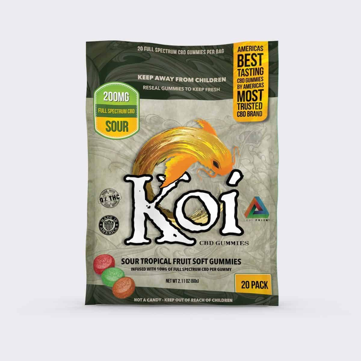 KOI CBD SOUR TROPICAL FRUIT SOFT GUMMIES - 20pc