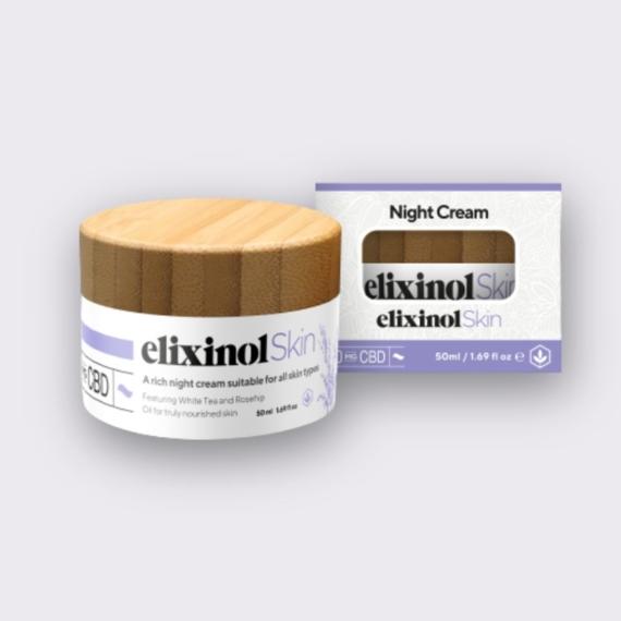 Elixinol Skin night cream box jar